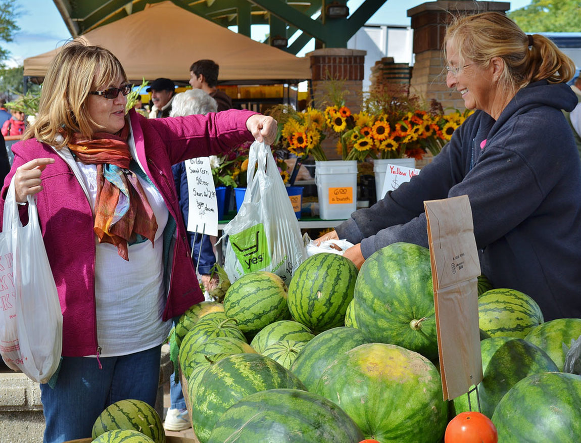 Farmers market in downtown Holland, Michigan