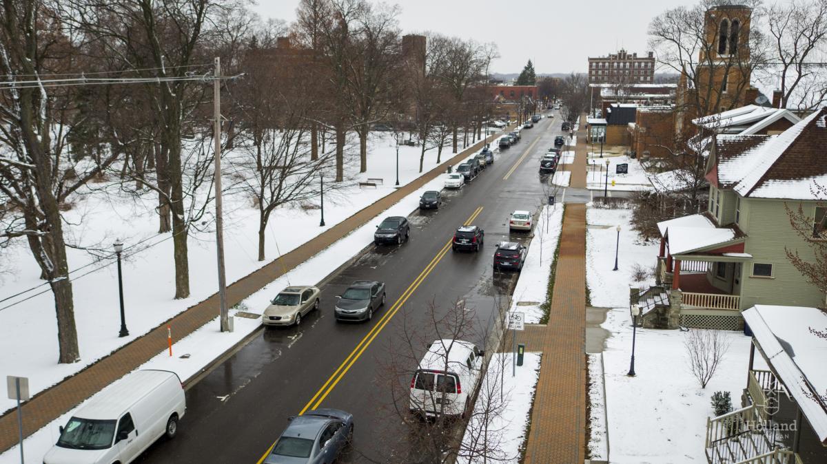 snowmelt downtown Holland, Michigan